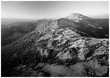 Chain of mountains around Lassen Peak, late afternoon. Lassen Volcanic National Park, California, USA. (black and white)