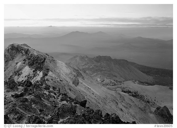 Summit of Lassen Peak at dusk. Lassen Volcanic National Park (black and white)
