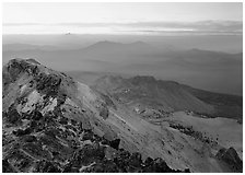 Summit of Lassen Peak at dusk. Lassen Volcanic National Park, California, USA. (black and white)