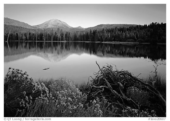 Manzanita lake and Mount Lassen in late summer, sunset. Lassen Volcanic National Park (black and white)