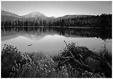 Manzanita lake and  Mount Lassen in late summer, sunset. Lassen Volcanic National Park ( black and white)