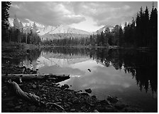 Reflection lake and Chaos Crags, sunset. Lassen Volcanic National Park ( black and white)