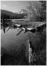 Manzanita Lake and Mount Lassen, morning spring. Lassen Volcanic National Park, California, USA. (black and white)