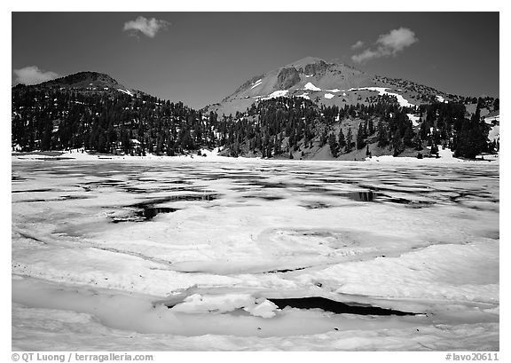 Ice break up in Helen Lake and Lassen Peak. Lassen Volcanic National Park (black and white)