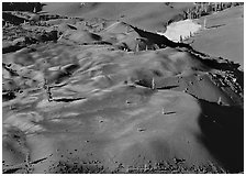 Painted dunes seen from above. Lassen Volcanic National Park ( black and white)