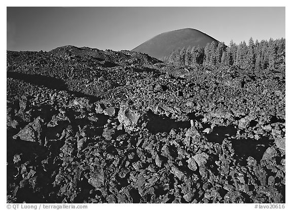 Fantastic lava beds and cinder cone, early morning. Lassen Volcanic National Park (black and white)