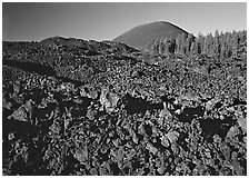Fantastic lava beds and cinder cone, early morning. Lassen Volcanic National Park, California, USA. (black and white)