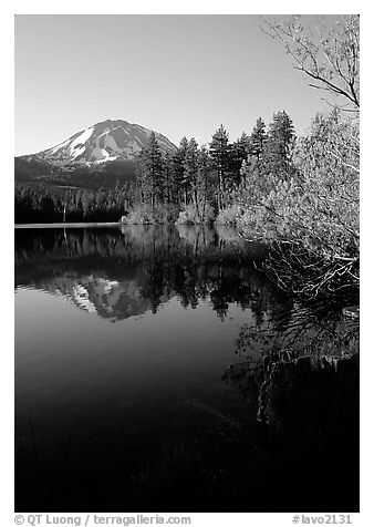 Manzanita lake and Mount Lassen in spring, morning. Lassen Volcanic National Park (black and white)
