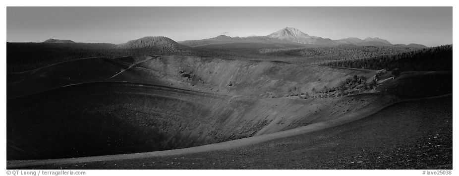 Cinder cone and Lassen Peak at dawn. Lassen Volcanic National Park (black and white)