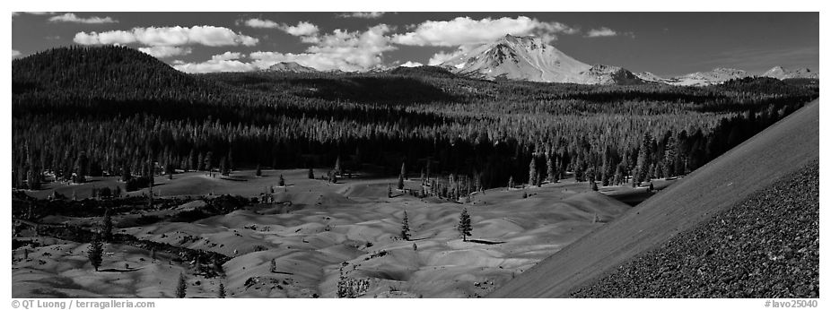 Painted dunes and Lassen Peak from Cinder Cone. Lassen Volcanic National Park (black and white)