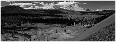 Painted dunes and Lassen Peak from Cinder Cone. Lassen Volcanic National Park (Panoramic black and white)