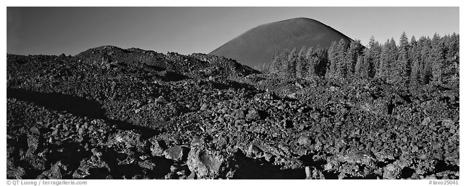 Hardened lava bed and Cinder Cone. Lassen Volcanic National Park (black and white)