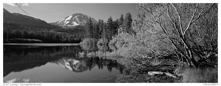 Lassen Peak reflections in the spring. Lassen Volcanic National Park (black and white)