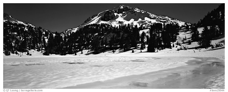 Turquoise color in ice melt below Lassen Peak. Lassen Volcanic National Park (black and white)