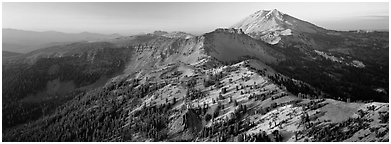 Chain of dormant volcanoes. Lassen Volcanic National Park (Panoramic black and white)