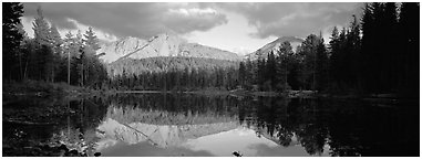 Chaos Crags reflected in lake at sunset. Lassen Volcanic National Park (Panoramic black and white)