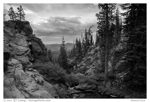 Kings Creek before drop off at sunset. Lassen Volcanic National Park (black and white)