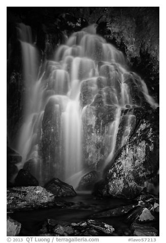 Kings Creek Falls at night. Lassen Volcanic National Park (black and white)