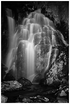 Kings Creek Falls at night. Lassen Volcanic National Park ( black and white)