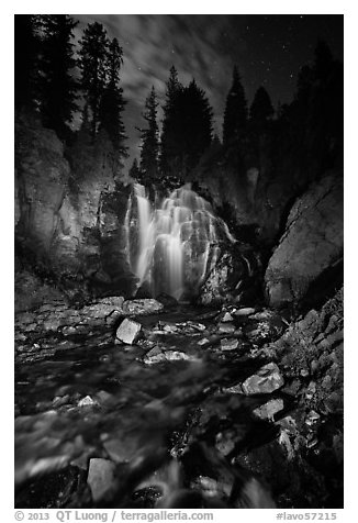 Wide view of Kings Creek Falls and starry sky. Lassen Volcanic National Park (black and white)