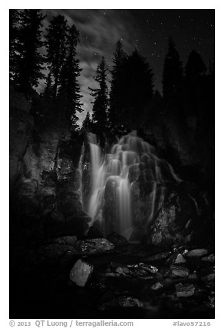 Dimly lit Kings Creek Falls and sky at night. Lassen Volcanic National Park (black and white)