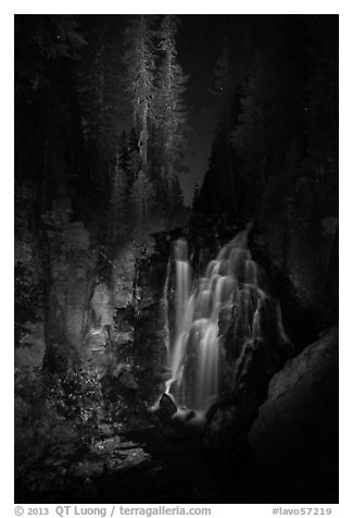 Kings Creek Falls and trees at night. Lassen Volcanic National Park (black and white)