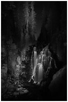 Kings Creek Falls and trees at night. Lassen Volcanic National Park ( black and white)