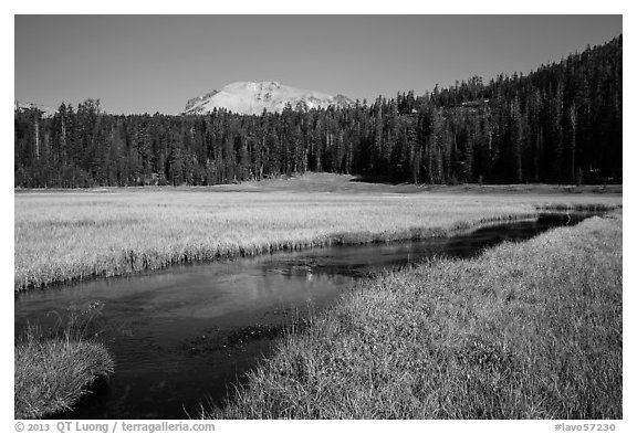 Upper Meadow and Lassen Peak, late summer. Lassen Volcanic National Park (black and white)