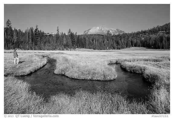 Visitor Looking, Upper Meadow and Lassen Peak. Lassen Volcanic National Park (black and white)
