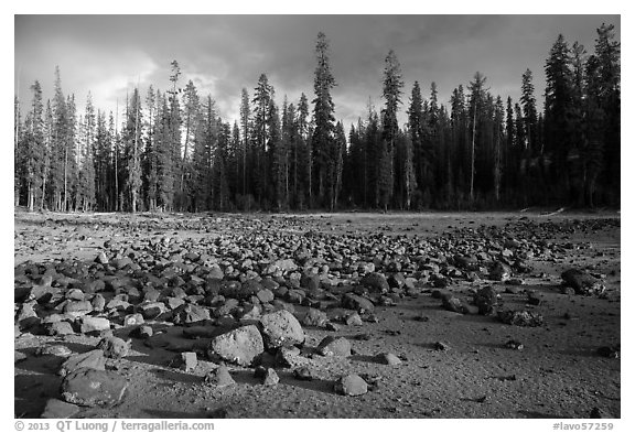 Boulders in dried lake. Lassen Volcanic National Park (black and white)