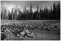 Boulders in dried lake. Lassen Volcanic National Park ( black and white)