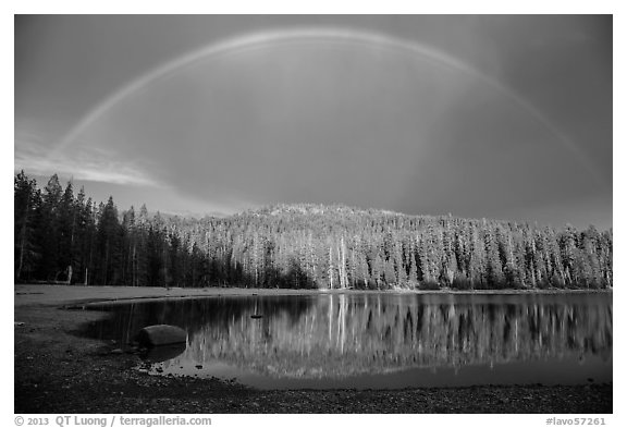 Stormy sky and rainbow, Juniper Lake. Lassen Volcanic National Park (black and white)