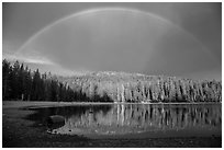 Stormy sky and rainbow, Juniper Lake. Lassen Volcanic National Park ( black and white)