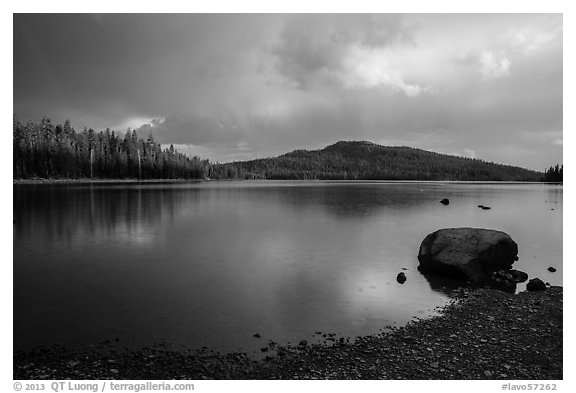Raindrops in Juniper Lake. Lassen Volcanic National Park (black and white)