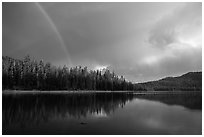 Rainbow and clearing storm, Juniper Lake. Lassen Volcanic National Park ( black and white)