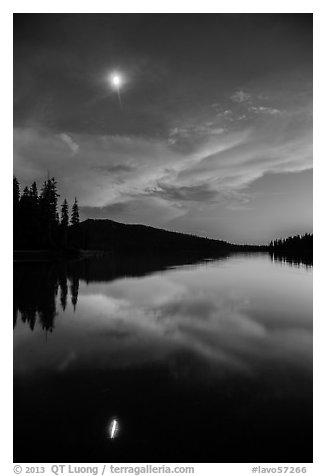 Moon and reflection at dusk, Juniper Lake. Lassen Volcanic National Park (black and white)