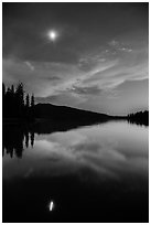 Moon and reflection at dusk, Juniper Lake. Lassen Volcanic National Park ( black and white)