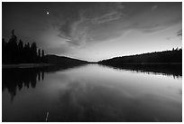 Moon and reflection, Juniper Lake. Lassen Volcanic National Park ( black and white)