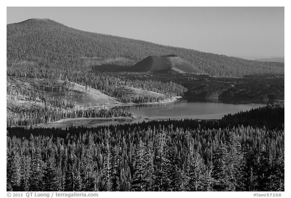 Prospect Peak, Cinder Cone, and Snag Lake. Lassen Volcanic National Park (black and white)