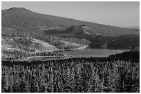 Prospect Peak, Cinder Cone, and Snag Lake. Lassen Volcanic National Park ( black and white)