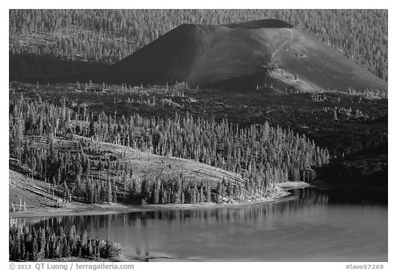 Cinder Cone, Fantastic Lava Beds, and Snag Lake. Lassen Volcanic National Park (black and white)