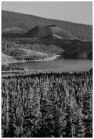 Cinder Cone and Snag Lake from Inspiration Point. Lassen Volcanic National Park ( black and white)