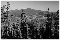 Prospect Peak, Cinder Cone, and Snag Lake from Inspiration Point. Lassen Volcanic National Park ( black and white)