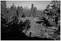 Lassen Peak from Inspiration Point with photographer shadow. Lassen Volcanic National Park ( black and white)