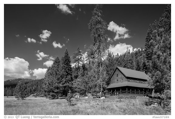 Drakesbad Ranch and Warner Valley. Lassen Volcanic National Park (black and white)