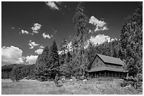 Drakesbad Ranch and Warner Valley. Lassen Volcanic National Park ( black and white)