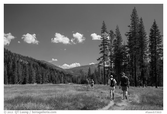 Hikers, Warner Valley. Lassen Volcanic National Park (black and white)