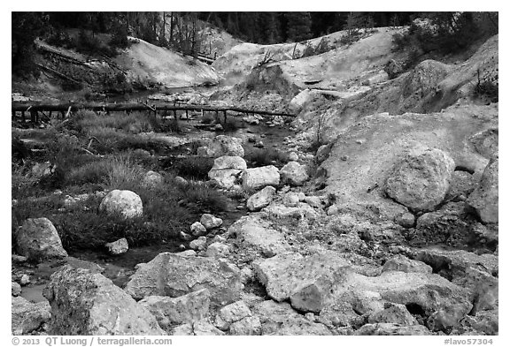 Sulfur deposits next to Hot Springs Creek. Lassen Volcanic National Park (black and white)