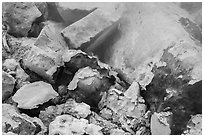 Rocks with sulphur deposits and steam vent. Lassen Volcanic National Park ( black and white)