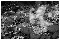 Fumaroles, Devils Kitchen. Lassen Volcanic National Park ( black and white)